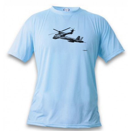 Women's or Men's Fighter Aircraft T-shirt  - FA-18 & Super Puma, Blizzard Blue