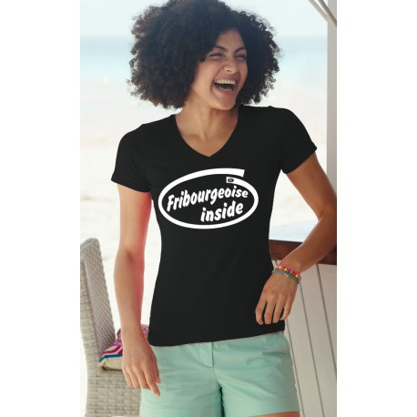 T-shirt coton Dame - Fribourgeoise Inside, 36-Noir