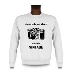 Sweat funny homme - Vintage appareil photo, White