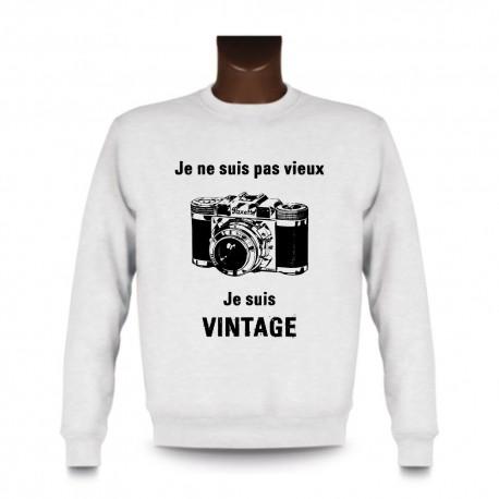 Men's Funny Sweatshirt - Vintage Camera, White