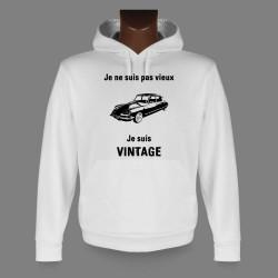 Sweat bianco a cappuccio - Vintage Citroën DS