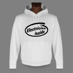 Sweat bianco a cappuccio - Electricien inside