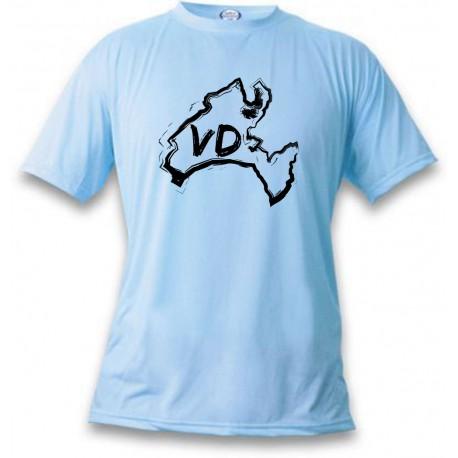 Donna o Uomo T-Shirt - Vaud confini e lettere VD, Blizzard Blue