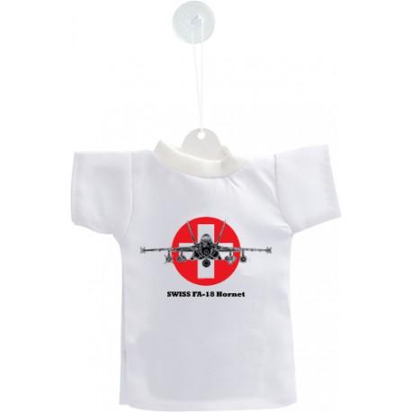 Mini T-shirt - aereo da caccia - Swiss FA-18 Hornet - versione colore, per automobile