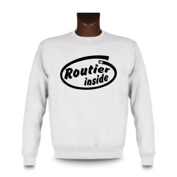 Uomo Funny Sweatshirt - Routier inside, White