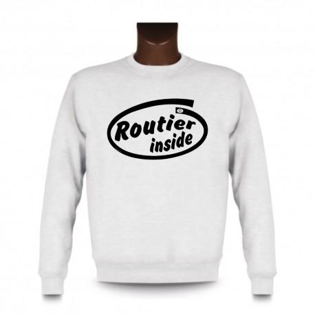 Uomo Funny Sweatshirt - Routier inside, White