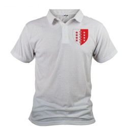 Men's polo shirt illustrated with the Valais canton crest, the Valais flag with 13 stars for the thirteen districts