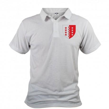 Poloshirt für Herren mit dem Walliser Kantonscheitel, der Walliser Flagge mit 13 Sternen für die 13 Bezirke