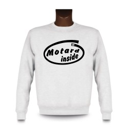 Men's Funny Sweatshirt -  Motard inside, White
