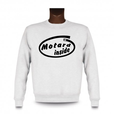 Herren Funny Sweatshirt - Motard inside, White