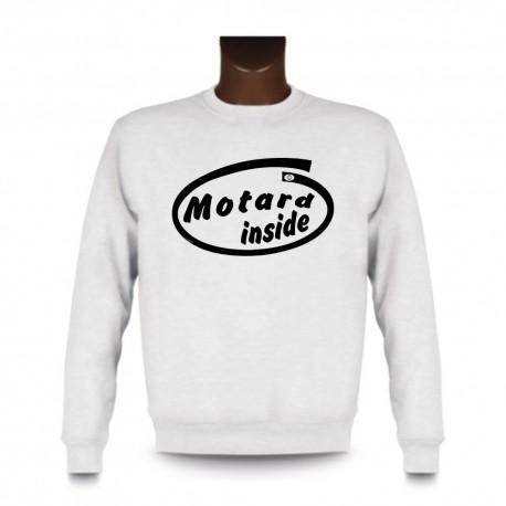 Men's Funny Sweatshirt - Motard inside, White