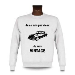 Uomo Funny Sweatshirt - Vintage Citroën DS, White