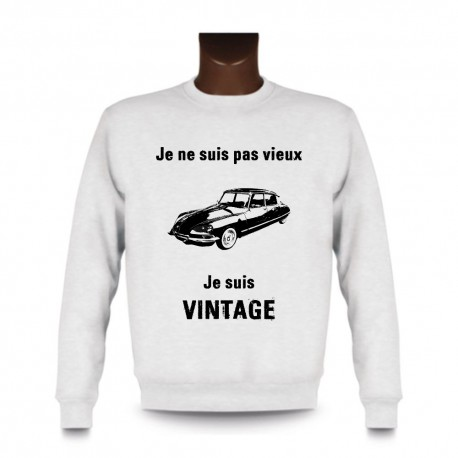 Men's Funny Sweatshirt - Vintage Citroën DS, White