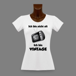 Donna funny slim T-shirt - Vintage Televisione - versione tedesca