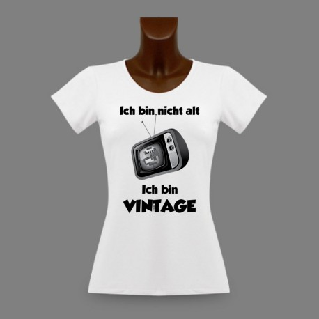 T-Shirt slim dame humoristique - Vintage Télévision - version allemande