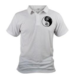 Uomo Polo Shirt - Yin-Yang - Testa di Tigre Tribale, Davanti