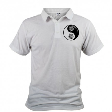 Polo shirt homme - Yin-Yang - Tête de tigre Tribal, Devant