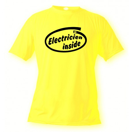 Men's Funny T-Shirt - Electricien Inside, Safety Yellow