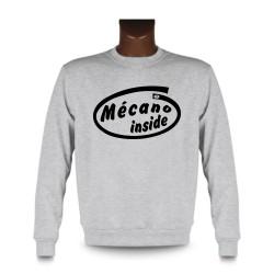 Men's Funny Sweatshirt - Mécano inside, Ash Heater