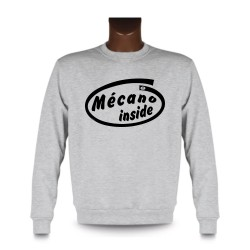 Uomo Funny Sweatshirt -  Mécano inside, Ash Heater