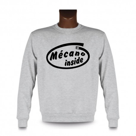 Men's Funny Sweatshirt - Mécano inside, Ash Heater