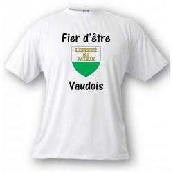 T-Shirt - Fier d'être Vaudois - écusson vaudois, White