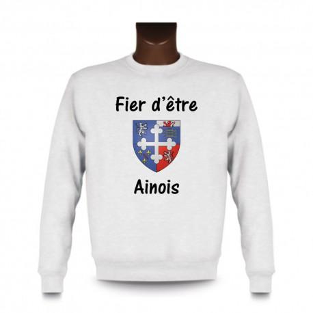 Men's fashion Sweatshirt - Fier d'être Ainois, White