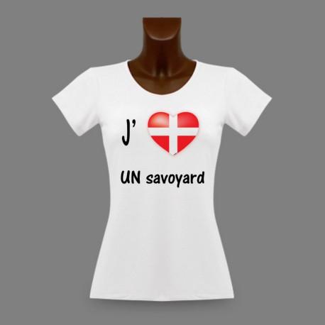 Women's fashion slim T-Shirt - J'aime UN Savoyard