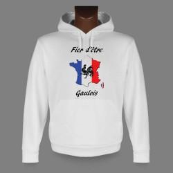 Sweatshirt blanc à capuche - Fier d'être Gaulois