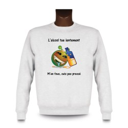Uomo fashion Sweatshirt - L'alcool tue lentement, White