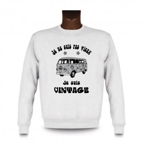 Men's Funny Sweatshirt - Vintage Flower Power, White
