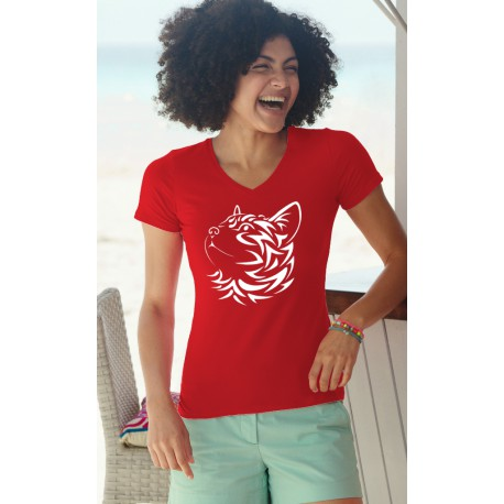 Women's fashion cotton T-Shirt - Tribal Cat, 40-Red