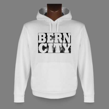 Hooded Funny Sweat - BERN CITY White