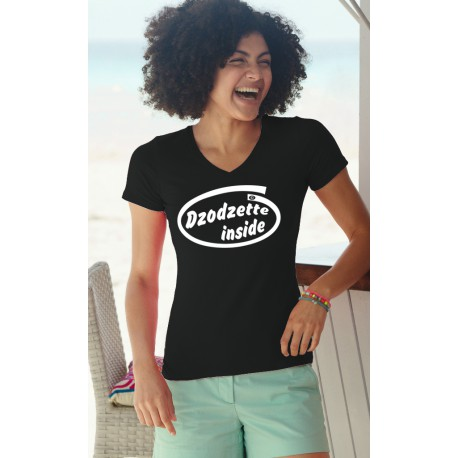 Women's Fashion cotton T-Shirt - Dzodzette Inside, 36-Black