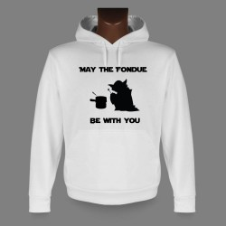 Pull-over blanc à capuche - May the Fondue be with You- mode homme, Yoda