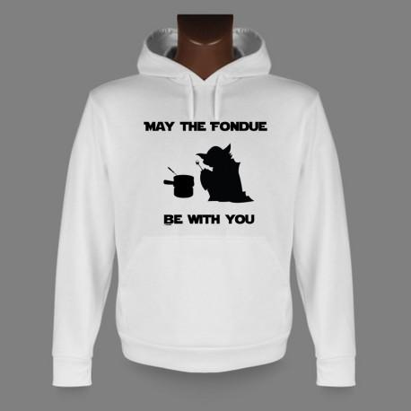 Uomo Felpa bianco a cappuccio - May the Fondue be with You, Yoda
