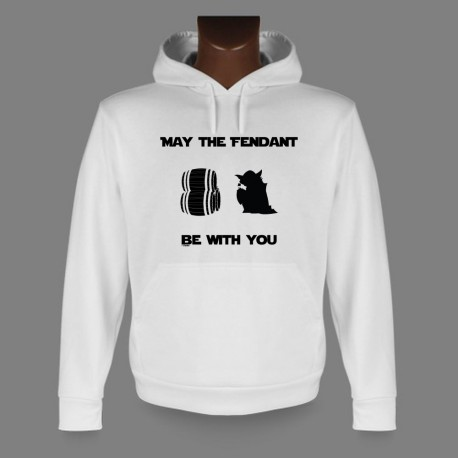 Sweat bianco a cappuccio - May the Fendant be with You