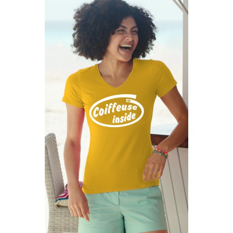 T-shirt coton mode Dame - Coiffeuse Inside, 34-Tournesol