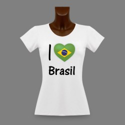 Frauen Moden Slim T-shirt - I Love Brasil