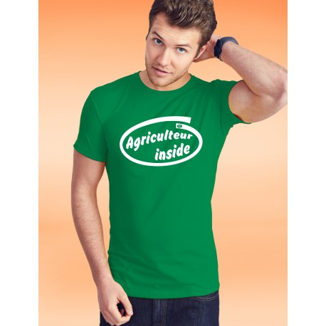 Men's cotton T-Shirt - Agriculteur inside, 47-Kelly Green