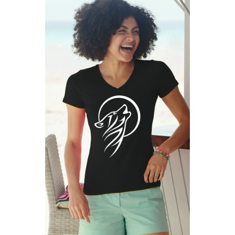 Frauen Mode Baumwolle T-Shirt - Tribal Moon Wolf, 36-Schwarz