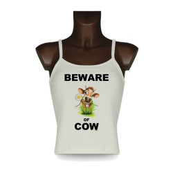 Moda Canotta Donna - Beware of Cow, Natural