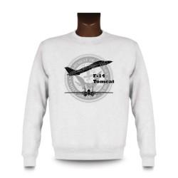 Herren Mode Sweatshirt - Kampfflugzeug - F-14 Tomcat, White