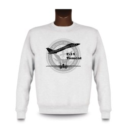 Men's fashion Sweatshirt - Fighter Aircraft - F-14 Tomcat, White