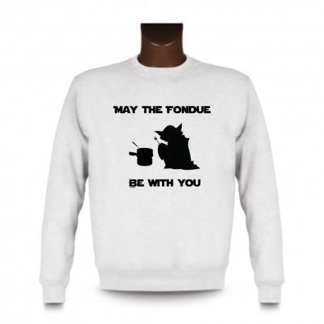Uomo fashion Sweatshirt - May the Fondue be with You, White