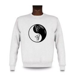 Herren Mode Sweatshirt - Yin-Yang - Tribal Wolf Kopf, White