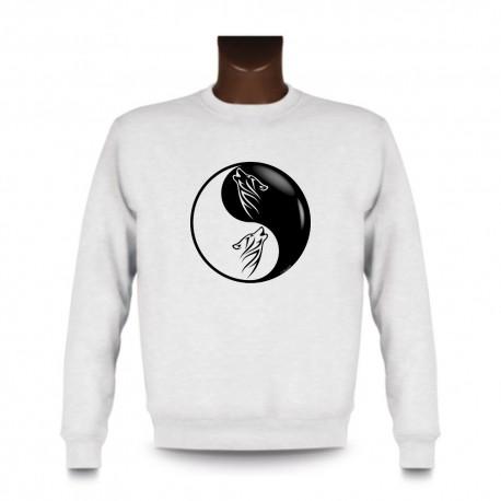 Herren Mode Sweatshirt - Yin-Yang - Tribal Wolf Kopf, White