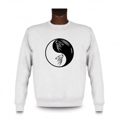 Uomo fashion Sweatshirt - Yin-Yang - Testa di Lupo Tribale, White