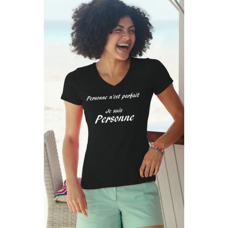 Frauen lustige Mode Baumwolle T-Shirt - Personne n'est parfait, 36-Schwarz