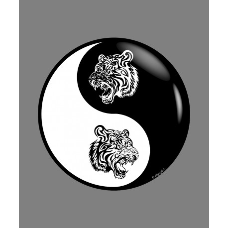 Sticker - Yin-Yang - Tête de tigre Tribal